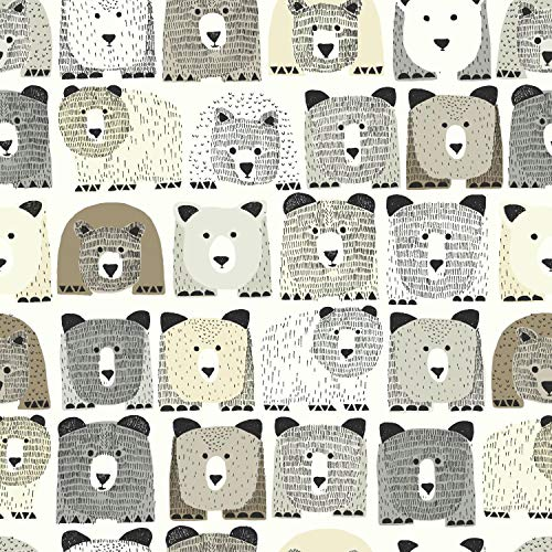 York Wallcoverings DW2432 DwellStudio Baby and Kids Bears Sidewall, Blacks/Browns/Beiges