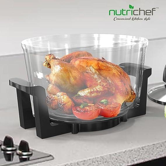 NutriChef PKCOV45 - Posavasos para encimera de convección, horno de cocina, horno, parrilla, chimenea de vapor, asado y freír, incluye lazo de cristal, ...