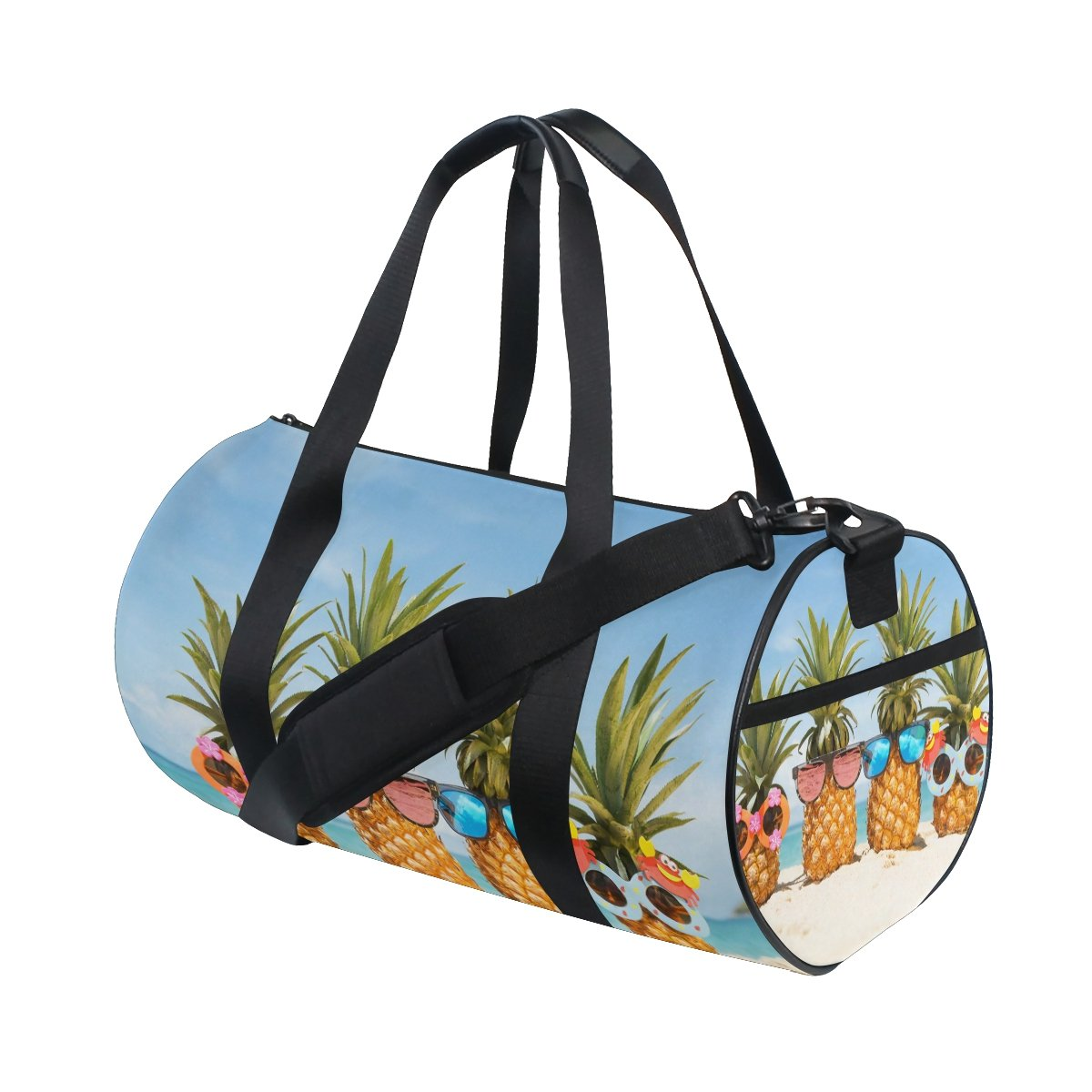 Naanle Pineapple Stylish Sunglasses On Beach Turquoise Sea Gym bag Sports Travel Duffle Bags for Men Women Boys Girls Kids