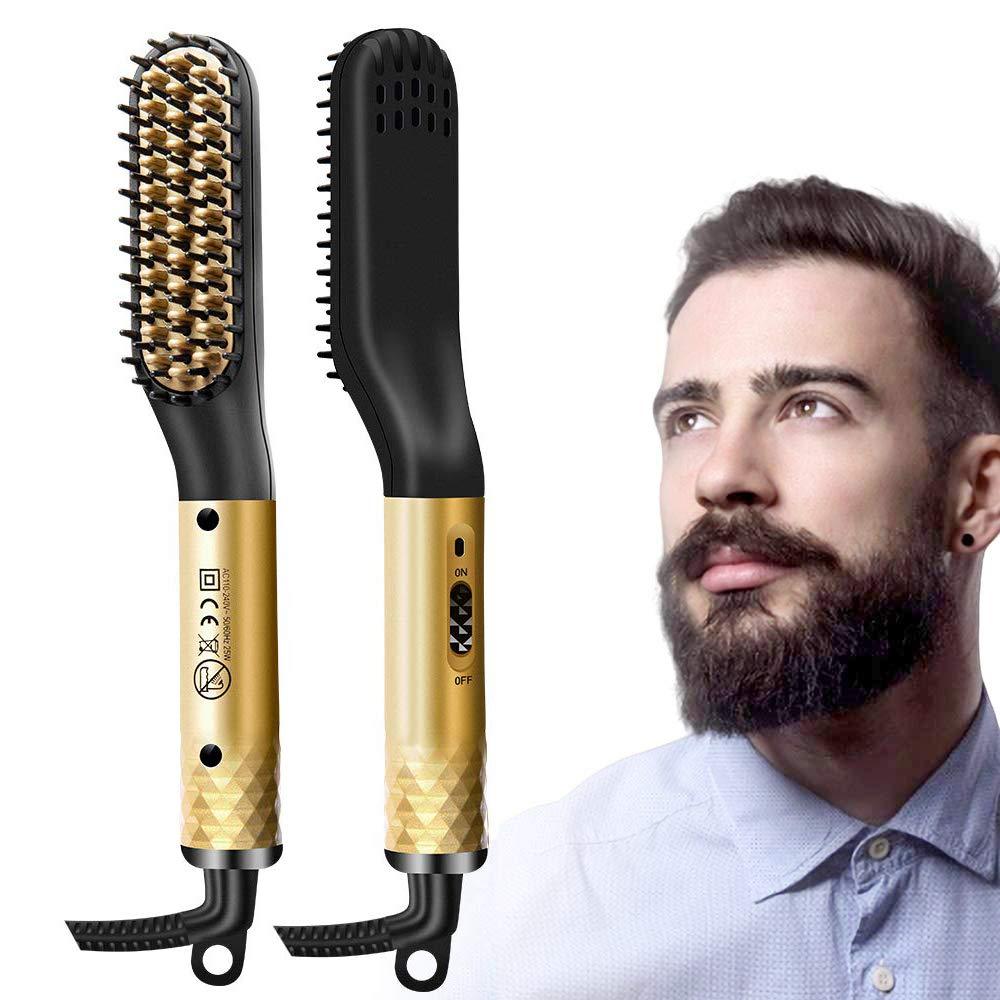 Beard Straightener for Men, Hair Straightening Brush for Men Heated Beard Brush Ceramic Ionic Heating Control Electric Hair Brush, Home and Travel