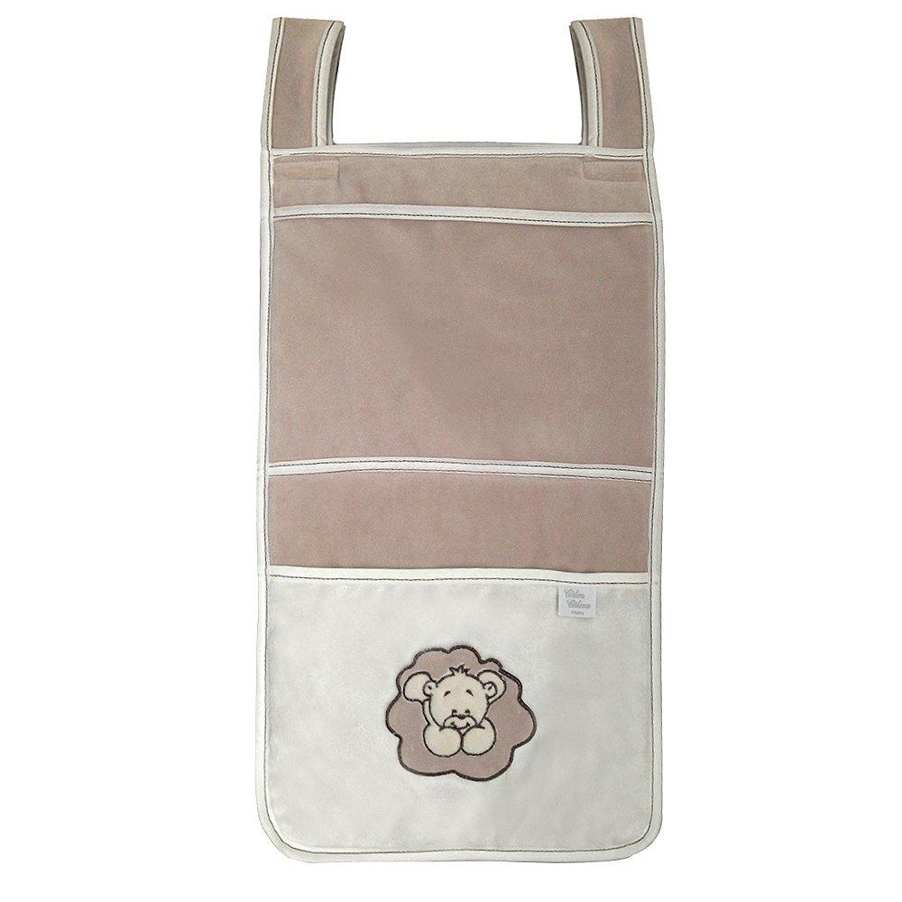 Câlin Câline Matthéo 205.31 - Bolsa para pañales y pijamas, diseño con bordado de osito tumbado, color blanco, marrón y beige