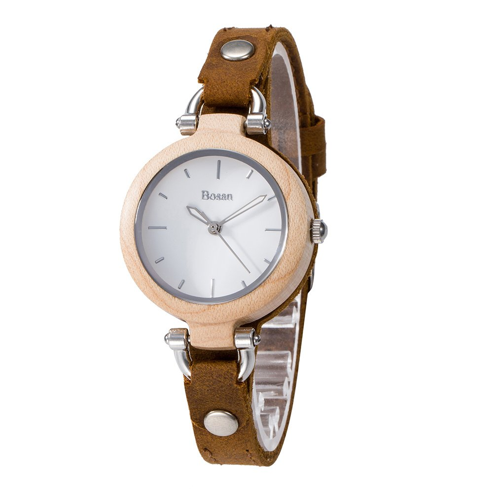 Wood Watch,Bosan Women Stylish CD Line Small Face Unique Design Wooden Wrist Watch with Light Genuine Leather Strap(Maple)