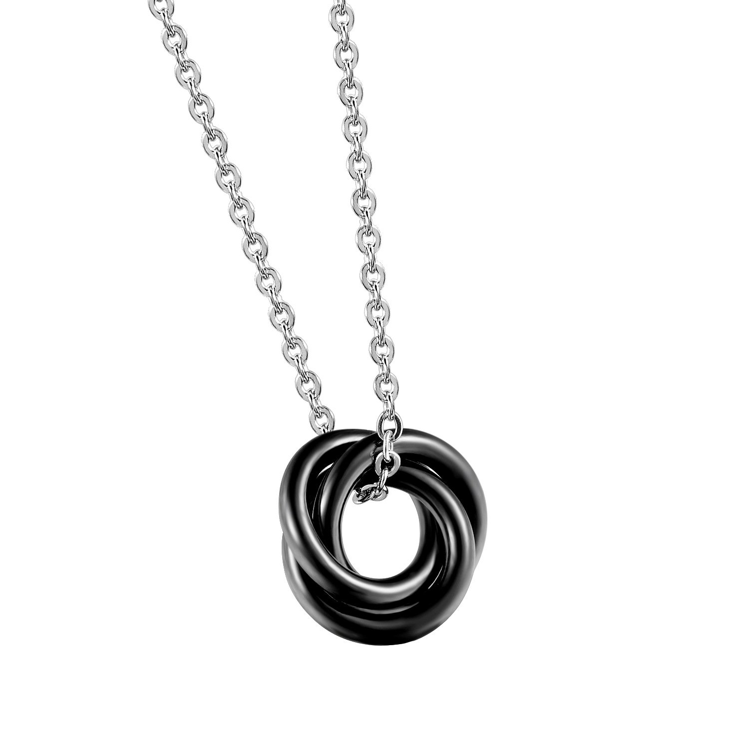 FEYCH His /& Hers Matching Set Titanium Stainless Steel Couple Pendant Necklace Korean Love Style with a Lucky Bean Price for 1 PCS