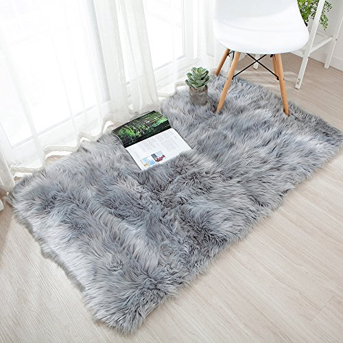 OJIA Deluxe Soft Modern Faux Sheepskin Shaggy Area Rugs Children Play Carpet for Living & Bedroom Sofa (2 x 3ft, Grey) -