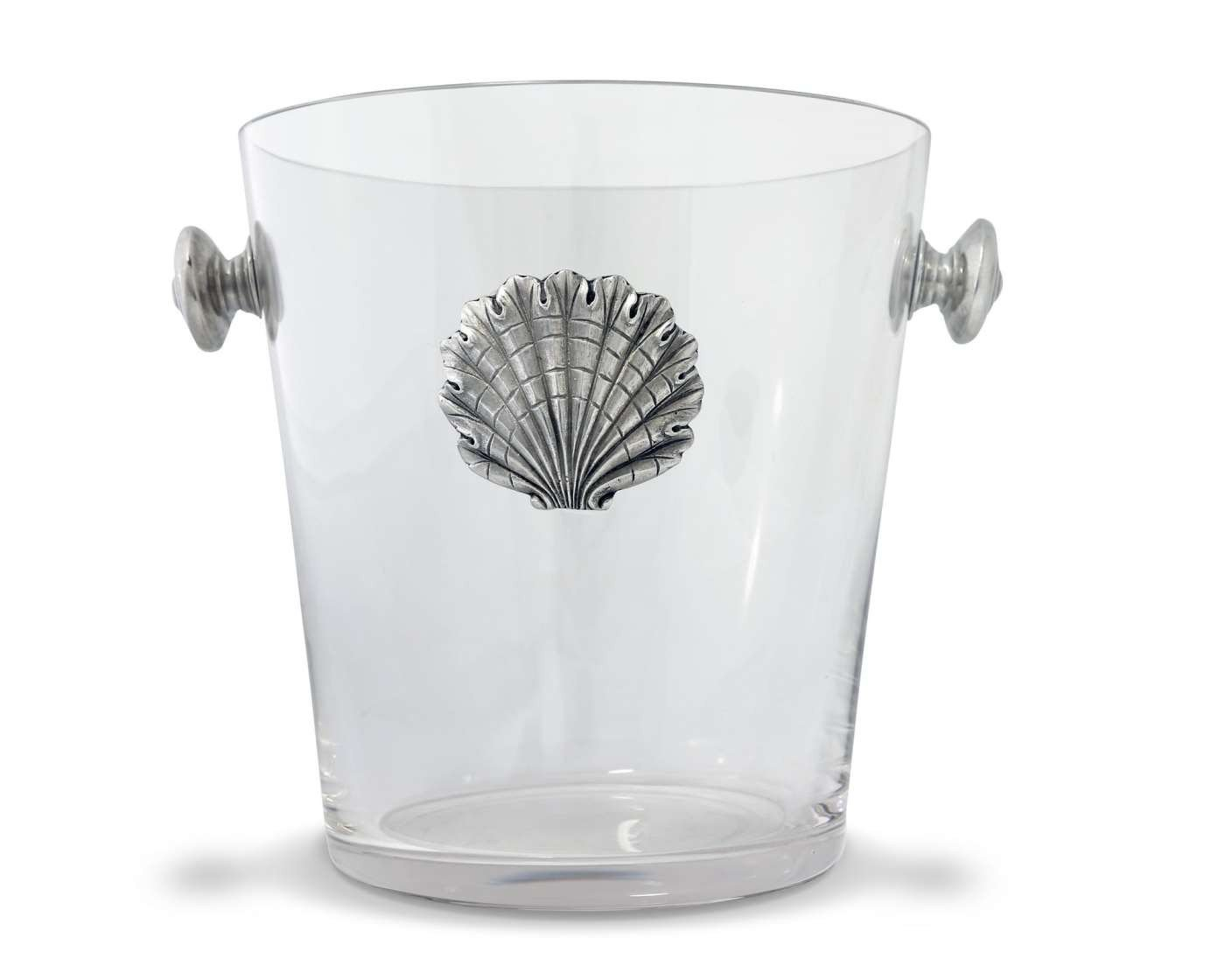 Vagabond House Glass Ice / Wine / Champagne Bucket with Pewter Shell Medallion