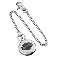 Men's Bar & Shield Stainless Steel Pocket Watch w/Chain 76A165