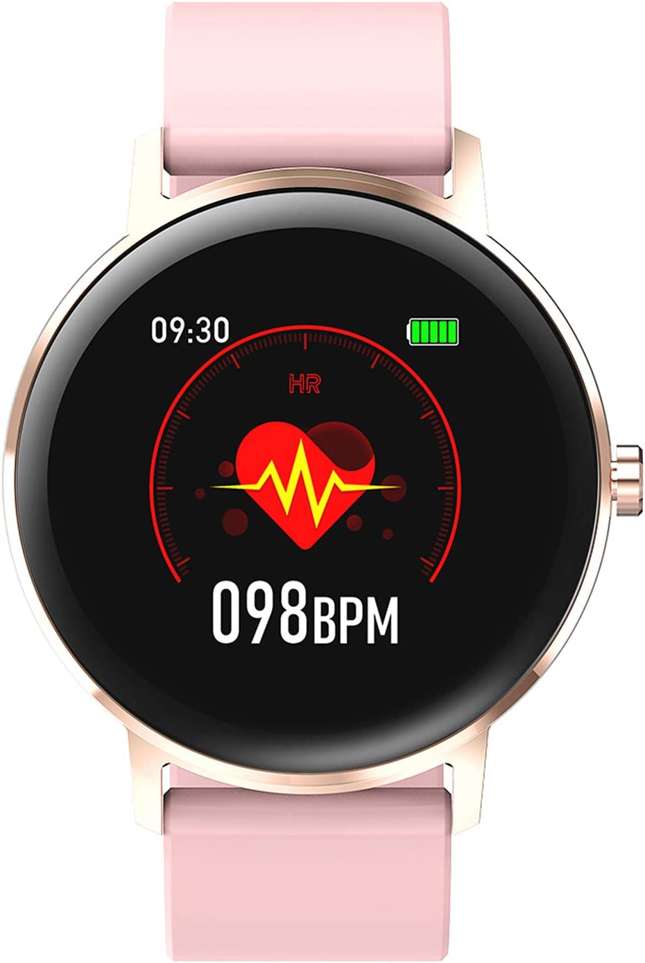 """HAOQIN HaoWatch QS2 1.22"""" Full Touch Screen Smart Watch Fitness Tracker with Heart Rate Monitor IP67 Waterproof Pedometer Smartwatch with Sleep Monitor Bluetooth 4.0 Pink"""
