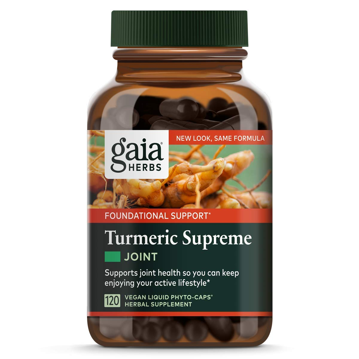 Gaia Herbs, Turmeric Supreme Joint, Turmeric Curcumin Supplement, Supports Joint Health Mobility, Relieves Occasional Pain, Vegan Liquid Capsules, 120 Count