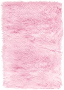 Home Decorators Collection Faux Sheepskin Area Rug, 8'X11', Pink