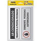 Placa Adesiva para Sinalização Pimaco BIC, Ar Condicionado e Pessoas Autorizadas, 6,5x20cm, 891729, 2 Unidades