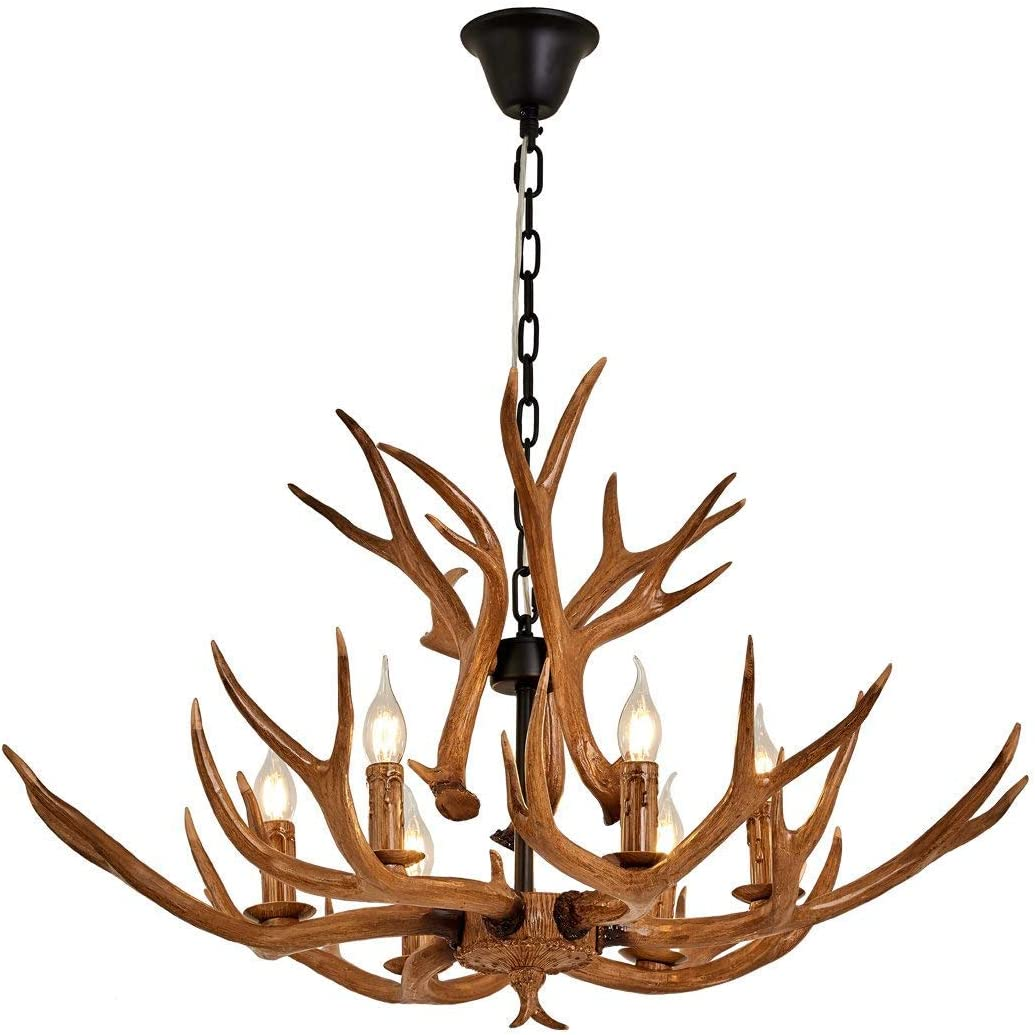 Resin Antler Chandelier, Deer Horn 6 Light Vintage Style Ceiling Light American Rural Countryside Antler Chandeliers for Living room,Bar,Cafe, Dining room,8688