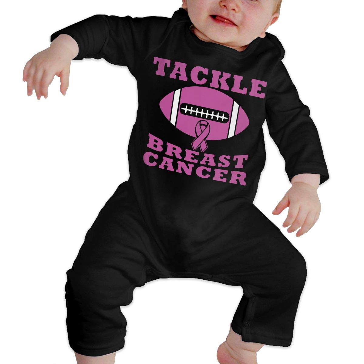 U99oi-9 Long Sleeve Cotton Rompers for Baby Girls Boys Soft Tackle Breast Cancer Jumpsuit