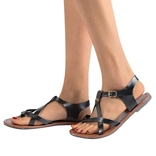273f674b0a1 Women Beach Flat Sandals Rome Soft Gladiator Flip-Flops Strappy Open Toe Criss  Cross Leather