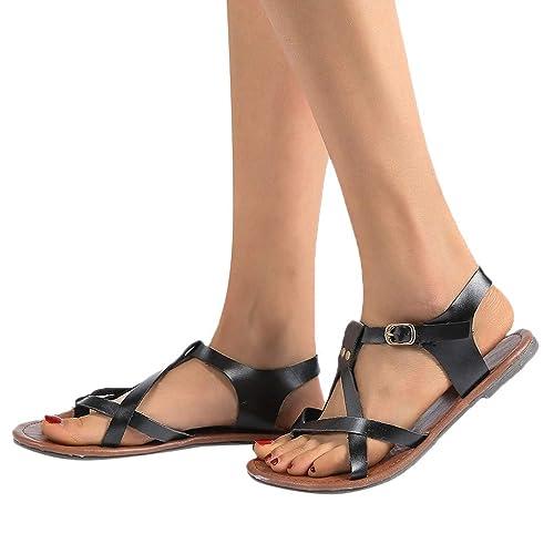 2b5ba5435 TANGSen Women Rome Soft Gladiator Sandals Beach Casual Shoes Flat Sandals  Ladies Fashion Summer Beach Shoes