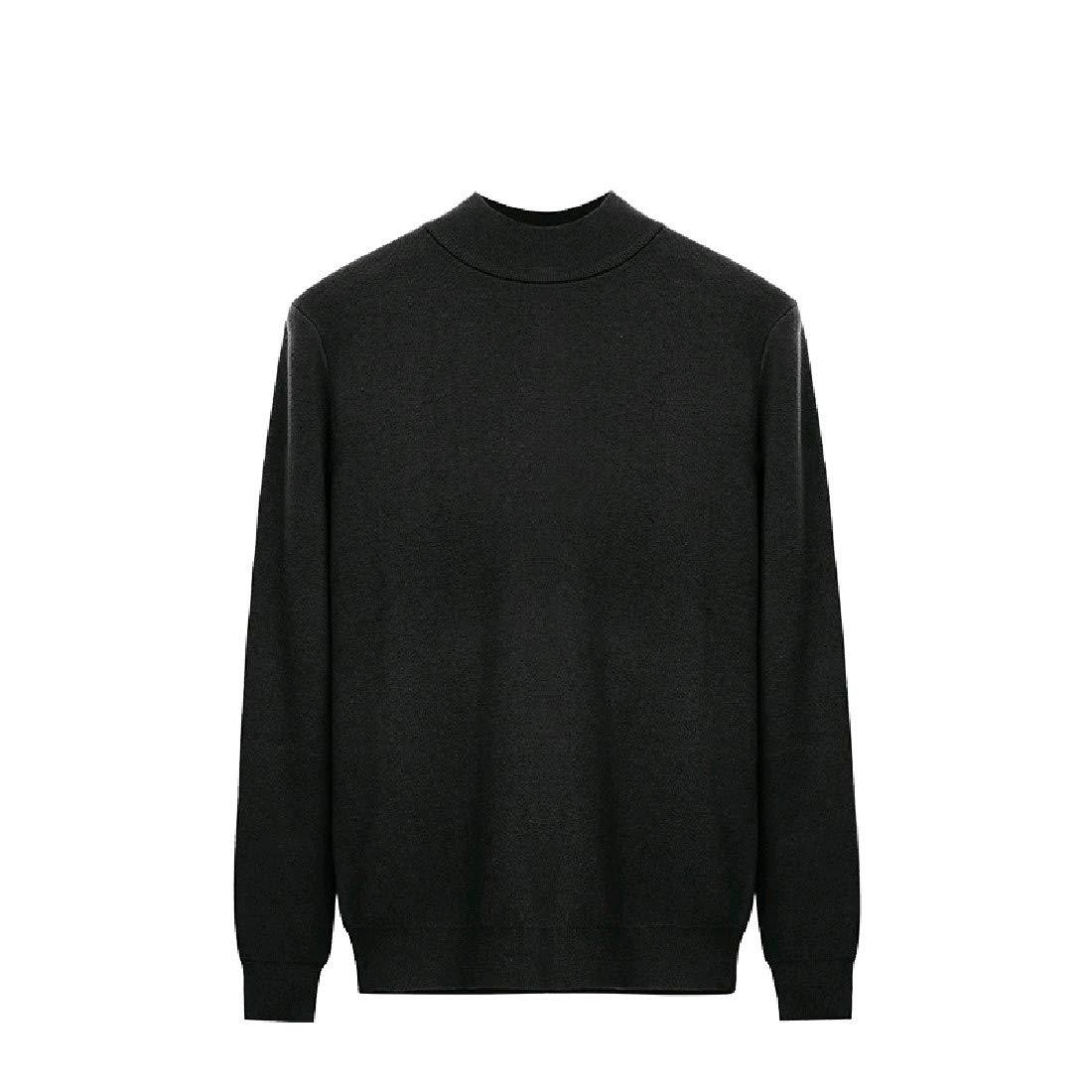 YUNY Men Turtleneck Pullover Oversize Colortone Pullover Sweater Grey 2XL