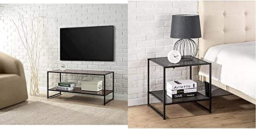 Zinus Modern Studio Collection TV Media Stand Table Good Design Award Winner with 20 Inch Square Side End Table Night Stand Coffee Table, Espresso