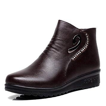 FENGJIAREN Cuero Auténtico Botines De Mujer Botines Botas Martin Negro para Mujer Cuñas Zip Invierno Zapatos Mom: Amazon.es: Deportes y aire libre