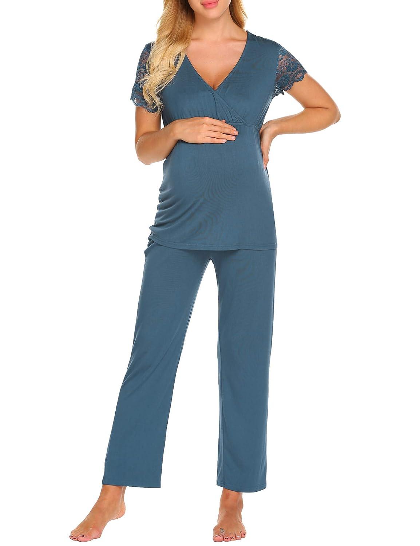 MAXMODA Womens Maternity Pjs Short Sleeve Pajamas Set Nursing Tops Full Length Pants