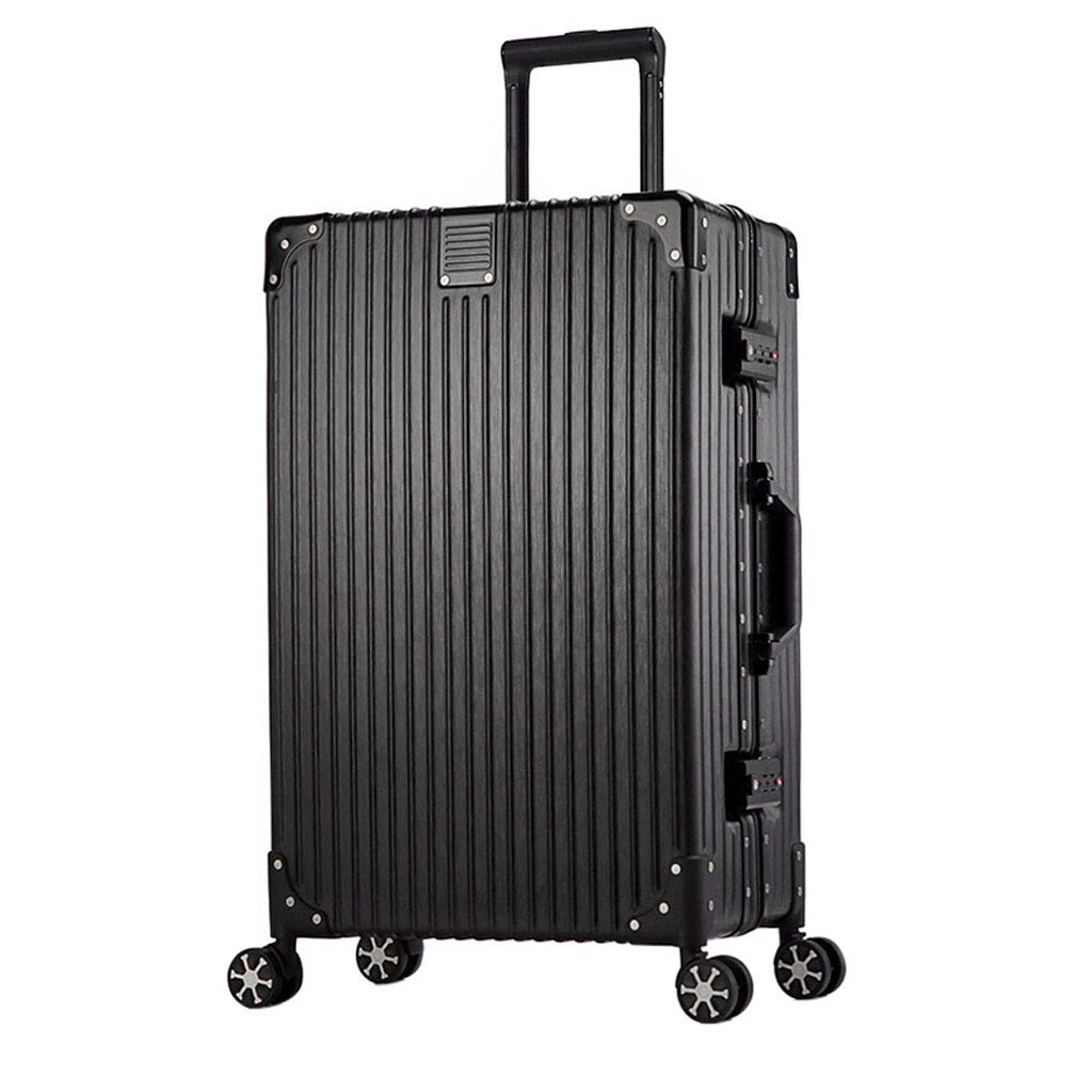 Mesurn JP レトロアルミフレームトロリーケース、フレキシブルユニバーサルミュートホイール、3桁コードロック、リバウンドハンドルデザイン、搭乗スーツケース B07P7382BX Black 24inch