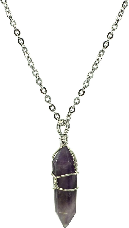 Paialco Jewelry - Collar con colgante de chakras de cristal natural con alambre a mano, 45,7 cm
