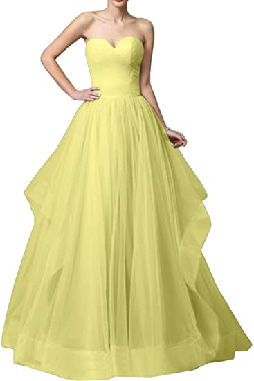DressyMe Womens Strapless Ball Gown Tulle Evening Prom Dress-6-Daffodil