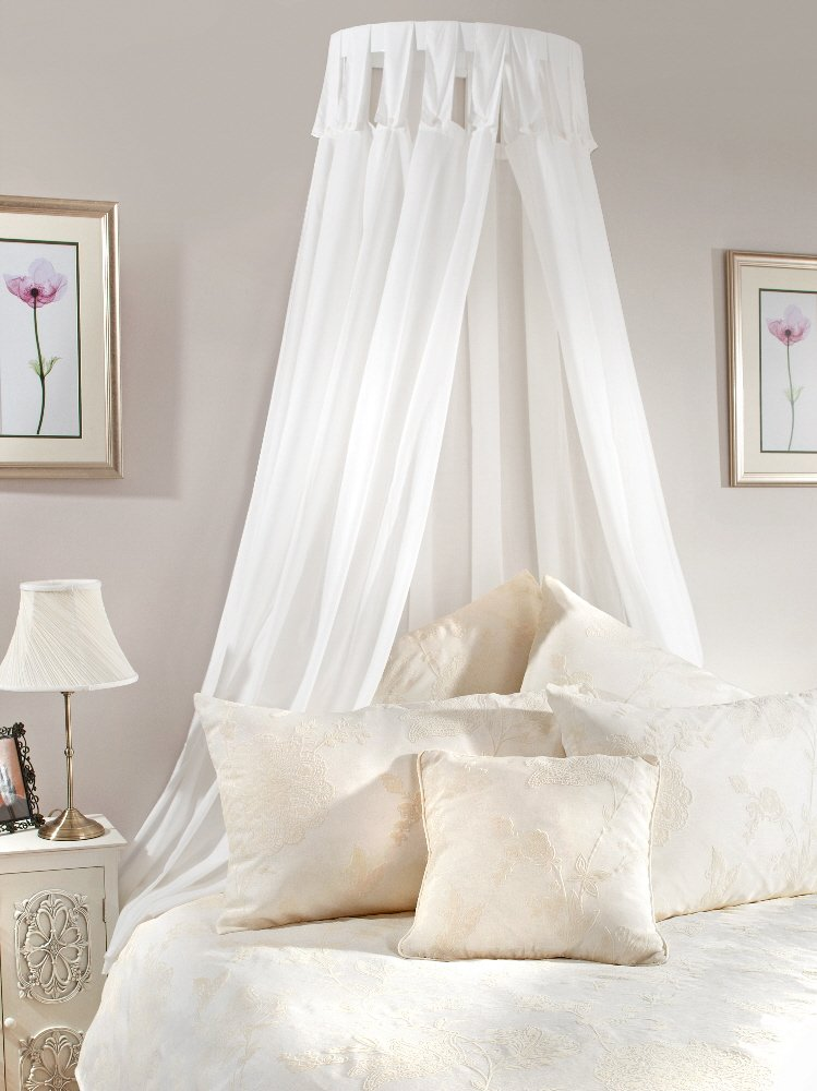 Bed Canopy Coronet With Pale Cream Drapes Complete Amazoncouk Kitchen Home