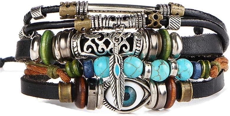 Bohemian Multilayer Bracelet Set Charm Women Turquoise Cuff Bangle Chain Jewelry