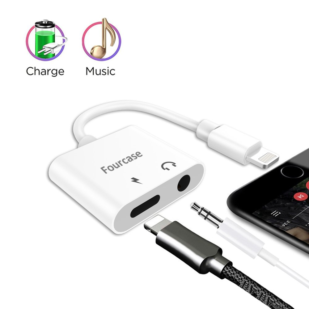 Lightning to 3.5 MMヘッドホンアダプタ、Fourcase 3.5 MMヘッドホンオーディオ+充電LightningアダプタIphone X / 8 / 8プラス、iPhone 7 / 7 PlusとIphone 6   B078WPZNT7