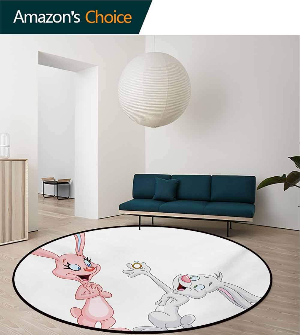 RUGSMAT Engagement Party Modern Washable Round Bath Mat,Cartoon Bunnies Proposing Rabbits with Wedding Ring Artwork Print Non-Slip Bathroom Soft Floor Mat Home Decor,Diameter-71 Inch