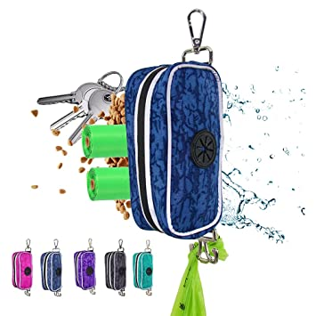 Poop Bag Holder with Hand Free Waste Bag Holder, Zipper Pouch with Clip to Fit Any Diaper Bag & Baby Stroller, Dog Leash, Collar, Harness & Stroller (Navy)