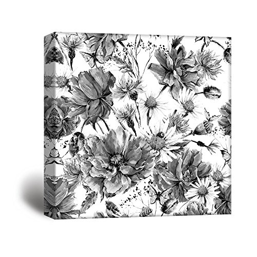 Square Flowers Petals in Black White