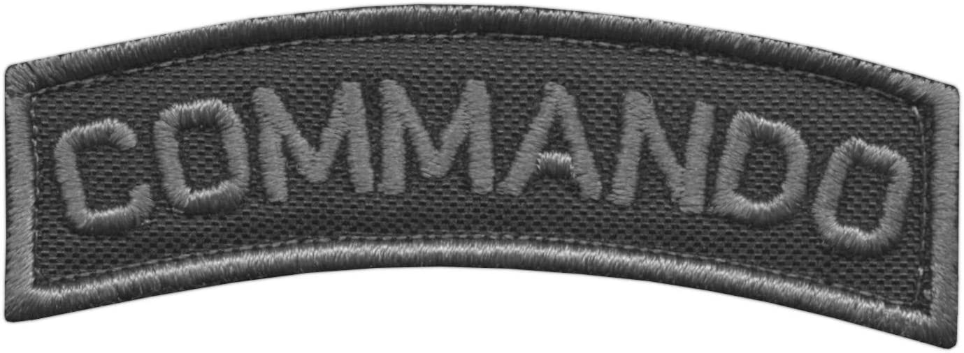 2AFTER1 Blackout Commando Shoulder Tab Subdued Army Military Tactical Morale Fastener Patch