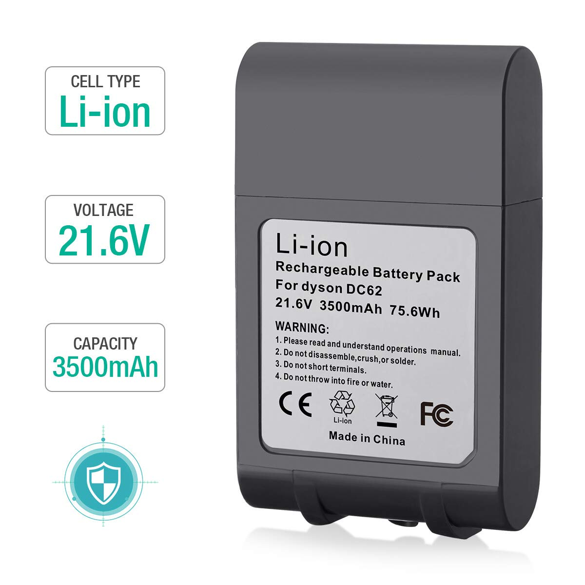 FirstPower 3.5Ah Dyson V6 Battery Replacement 21.6V Upgraded Li-ion Battery 595 650 770 880 DC58 DC59 DC61 DC62 Animal DC72 Series Handheld Dyson Battery