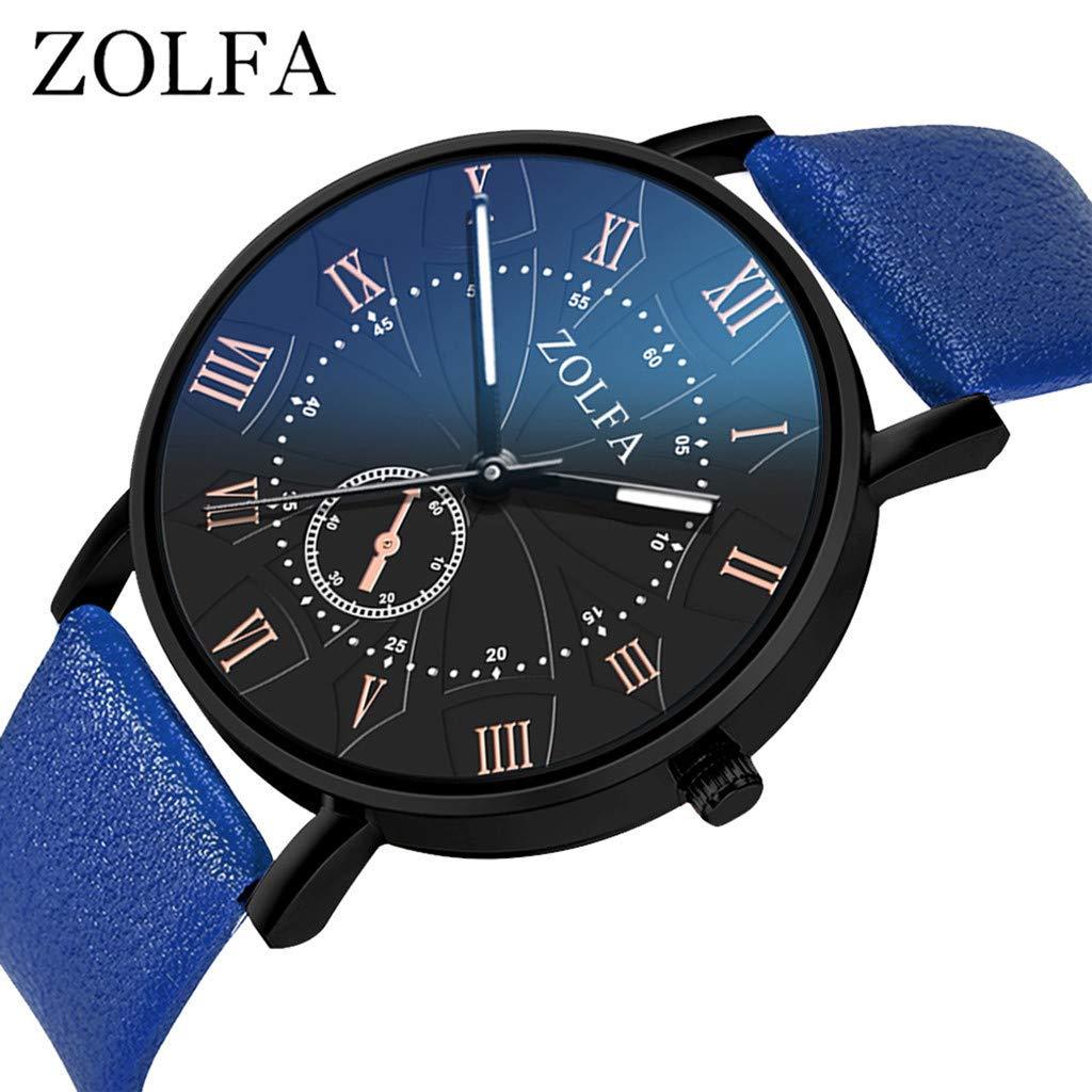 Reloj De Cuarzo De Los Hombres,Reloj Digital Hombre Busines Watches Correa De Cristal Azul Relojes Sleek Minimalist Roman Scale Watches: Amazon.es: Relojes
