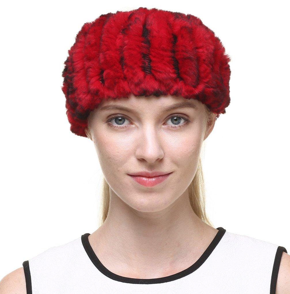 Vogueearth Women'Real Rabbit Fur Winter Headband Neck Warmer headbands A80340AH-Red