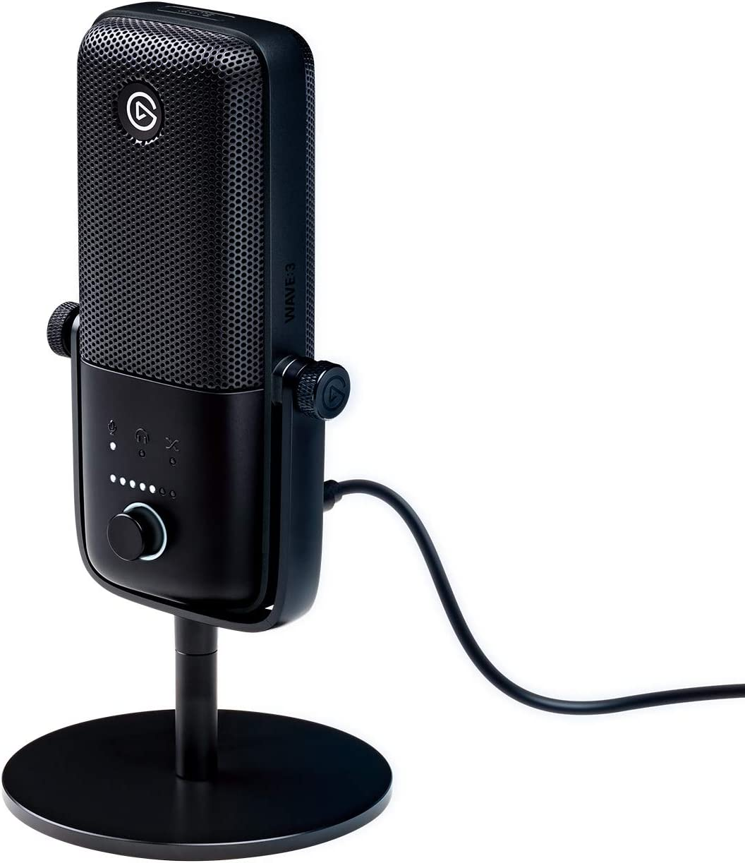 Elgato Wave:3 – USB Condenser Microphone and Digital Mixer for Streaming, Recording, Podcasting - Clipguard, Capacitive Mute, Plug & Play for PC/Mac