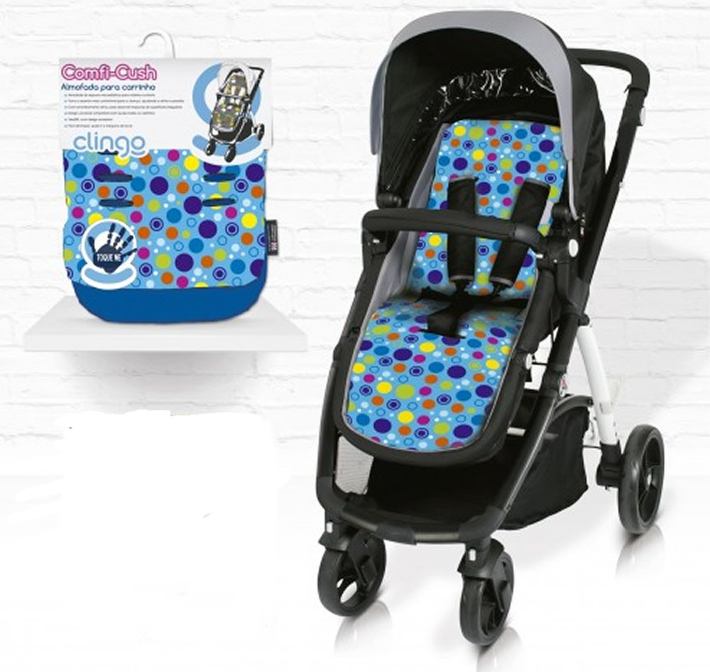 Comfi - Cush Memory Foam Stroller, Pushchair, Buggy, Pram Liner -Spot The Dot Mutli Circle Blue CuddleCo