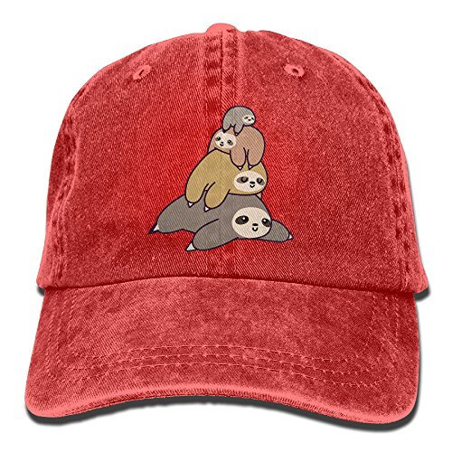 HDRAY Unisex Adult Sloth Stack Pile Washed Denim Cotton Sport Outdoor Baseball Cap Adjustable One - Prices To Canada Usps