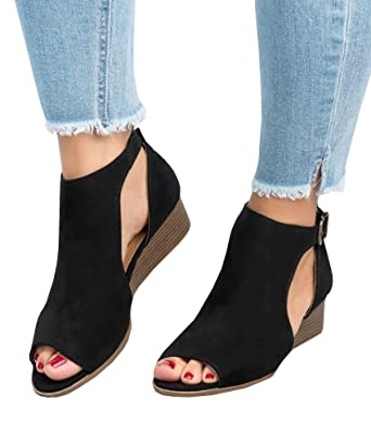 9a82cacf9538 Pxmoda Womens Open Toe Ankle Buckle Wedge Sandals Cut Out Cushioned Strap Bootie  Boots (US
