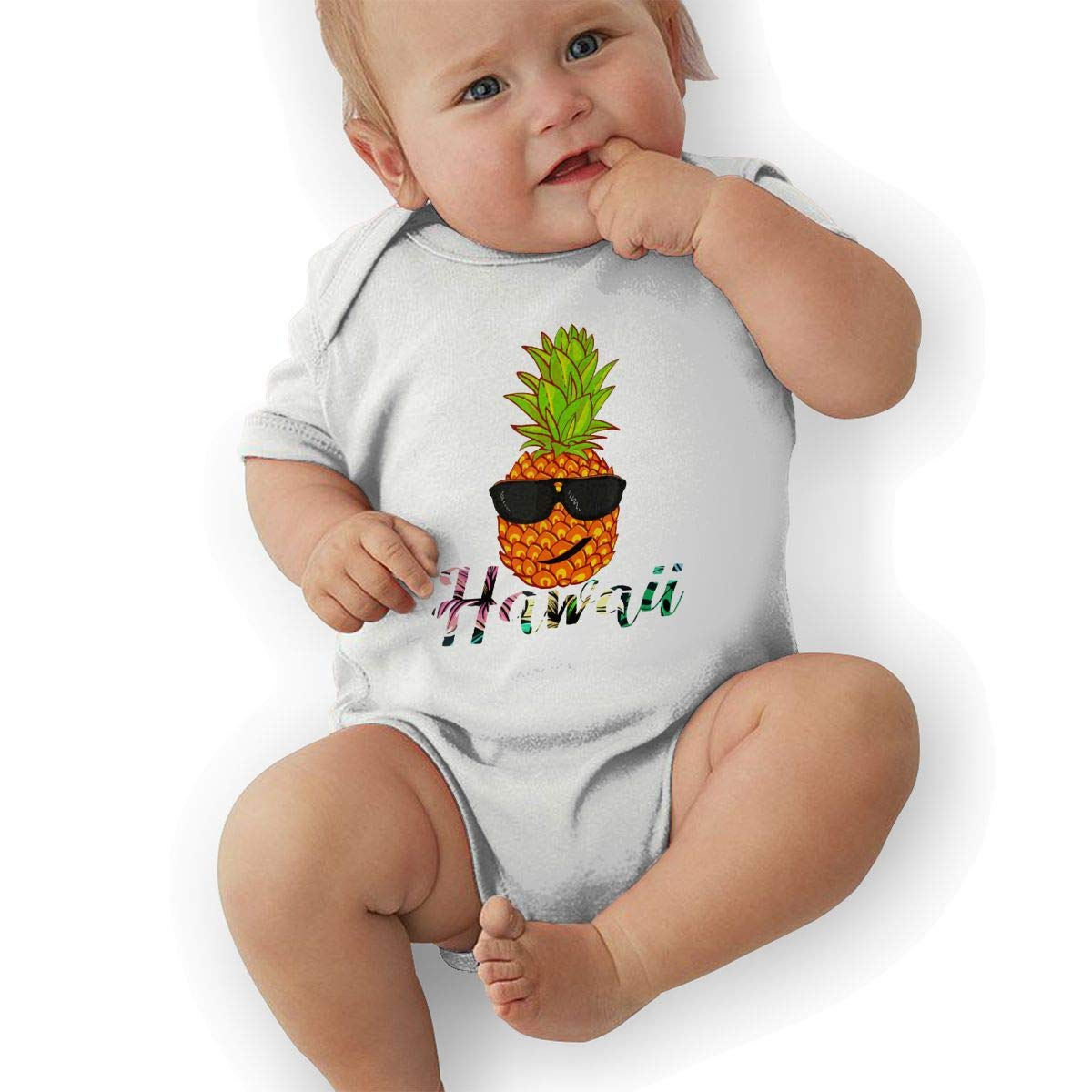Hawaii Pineapple Head with Sunglass Baby Rompers One Piece Jumpsuits Summer Outfits Clothes White