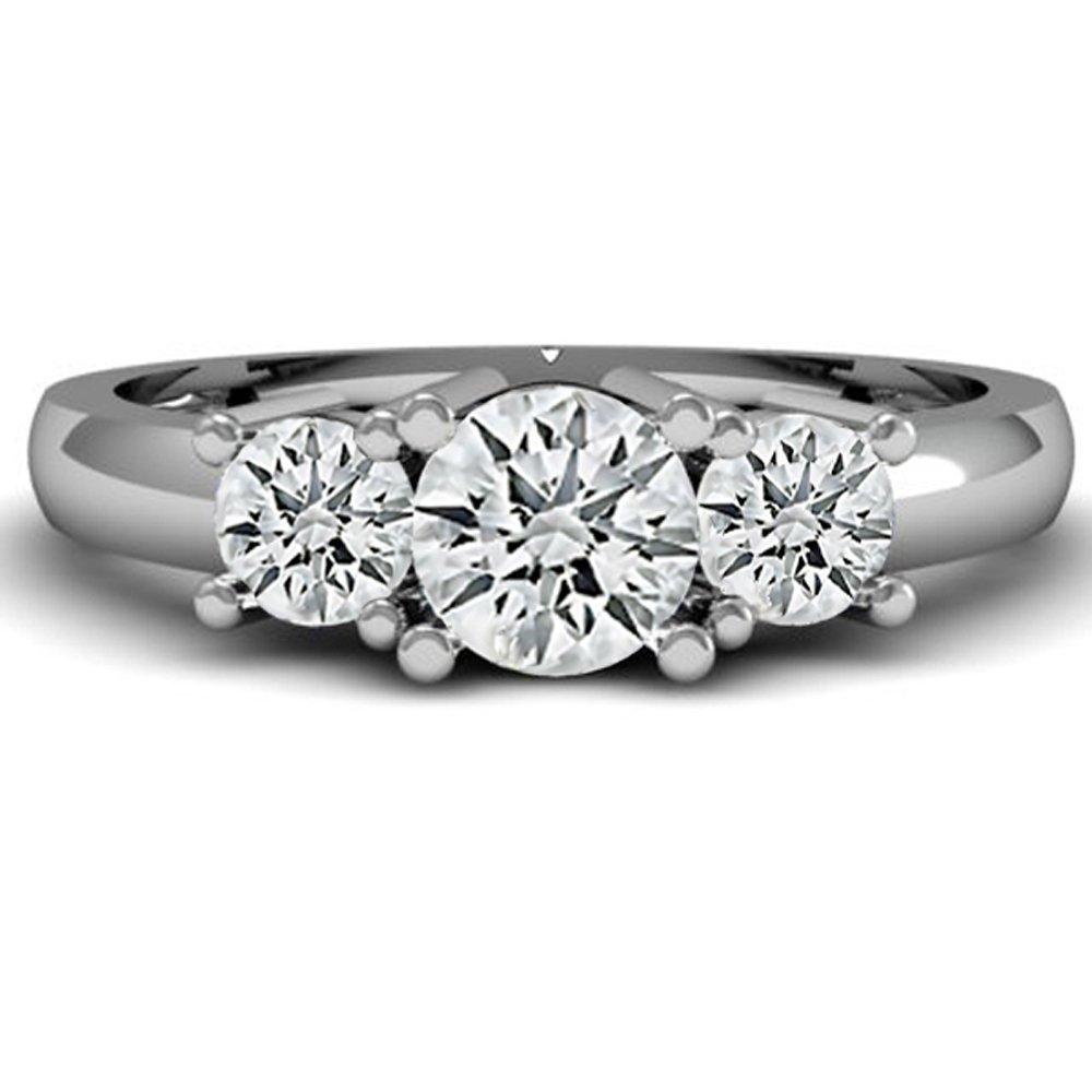 dc1d502d7 Dazzlingrock Collection IGI CERTIFIED 1.05 Carat (ctw) 14K White Gold Round  Diamond Ladies 3 Stone Bridal Engagement Ring 1 CT   Amazon.com