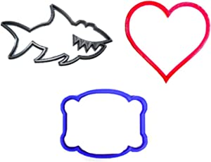 LOVE BITES VALENTINES DAY HEART PLAQUE FRAME SHARK MAMMAL BITE SET OF 3 SPECIAL OCCASION COOKIE CUTTER BAKING 3D PRINTED MADE IN USA PR1211