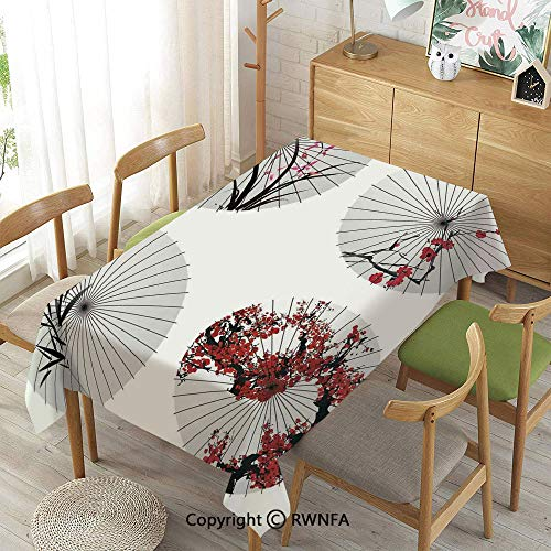 Homenon Tablecloth for Dining Room for Rectangle Tables,Group of Ethnic Parasol with Swirled Floral Lines and Bamboo Leaves Print,Spillproof Modern Printed,Red White,55