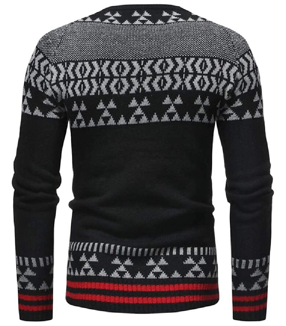 Zantt Mens Classic Print Long Sleeve Knitted Round Neck Pullover Sweater