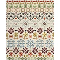 Safavieh Wyndham Collection WYD319A Handmade Ivory and Multi Wool Area Rug, 8 feet by 10 feet (8 x 10)