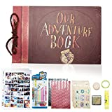 XYTMY 4x6 Photo Album Scrapbook Large Self Adhesive Paper 80 Pages - Engraved Our Adventure Book - Great Baby Shower Honeymoon Wedding Love Gift Box Accessory Kit