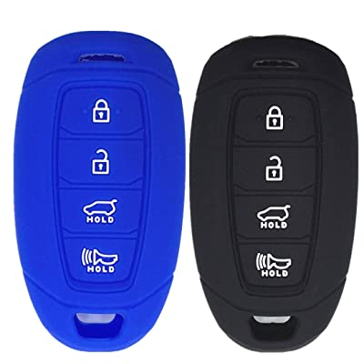 Ezzy Auto Black and Blue Silicone Rubber Key Fob Case Key Covers Key Jacket Skin Protectors fit for Hyundai Kona Azera Grandeur IG: Automotive