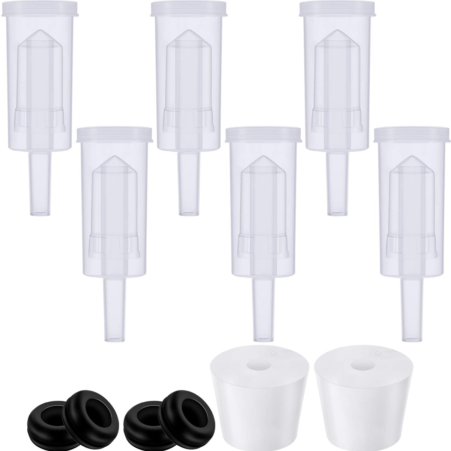 3-Piece BPA-Free Plastic Airlock Bubble Airlocks for Fermentation, Black Silicone Fermenter Lid Grommets 5/8'' OD, 3/8'' ID with #6 Hole Rubber Airlock Stopper Plugs for Beer Wine Sauerkraut (12 Pieces) by Mudder