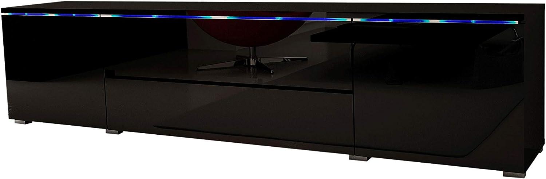 Black MEBLE FURNITURE /& RUGS Euphoria 79 Modern TV Stand