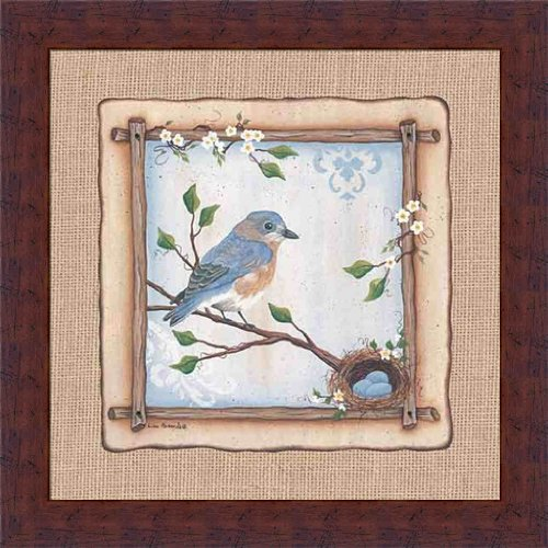 Bluebird Nest by Lisa Kennedy Robin Blue Eggs 14x14 Framed